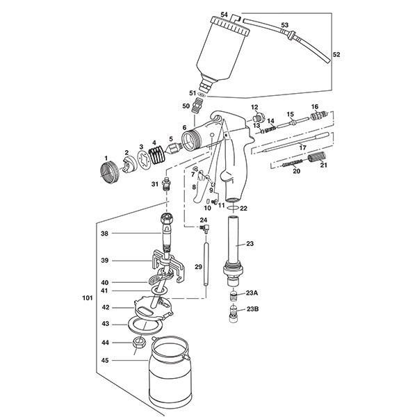 tp tools u00ae proline hvlp turbine gun parts breakdown