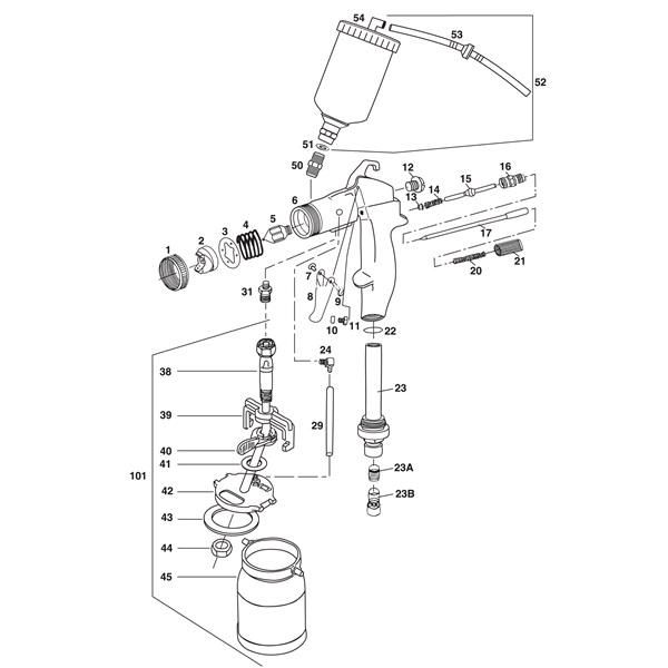 TP Tools® ProLine HVLP Turbine Gun Parts Breakdown