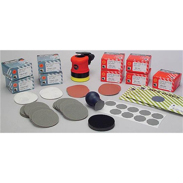 "TP Tools® Mini 3"" Air Sander/Polisher & Indasa 3"" Sanding Kit Package"