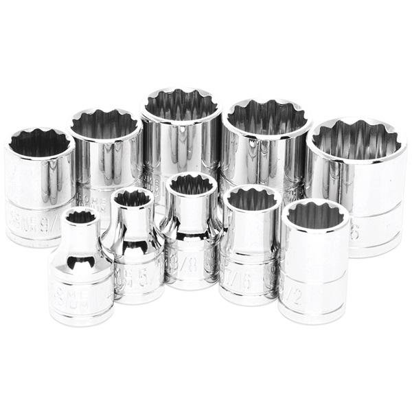 "Performance Tool® 10-Pc 3/8"" Dr 12-Point SAE Socket Set"