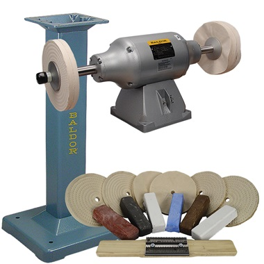 BALDOR® 3/4HP 2-Speed Buffer, BALDOR® Cast-Iron Stand & Buffing Kit