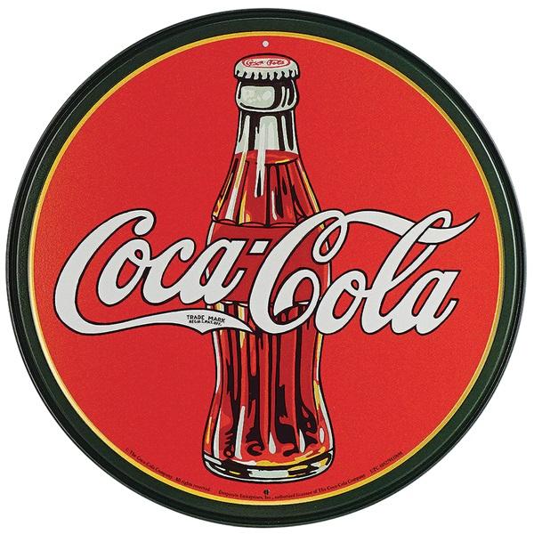 "Coke 30's Bottle Tin Sign - 11-3/4"" Dia"