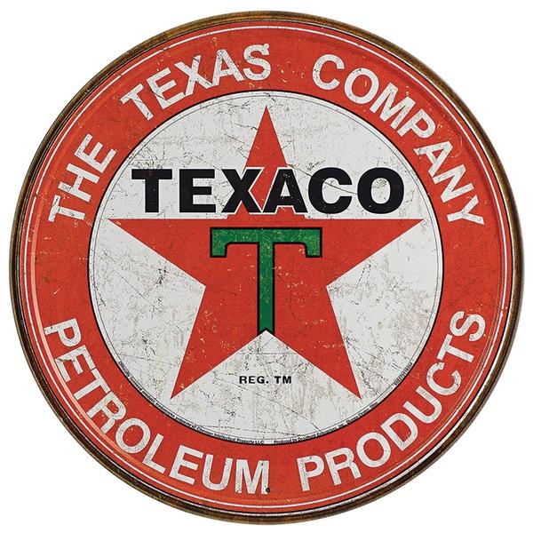 """Texaco Company Tin Sign - 11-3/4"""" Dia"""