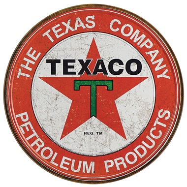 "Texaco Company Tin Sign - 11-3/4"" Dia"