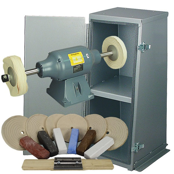 BALDOR® 1-1/2HP Buffer, Enclosed Buffer Cabinet Stand & Buffing Kit