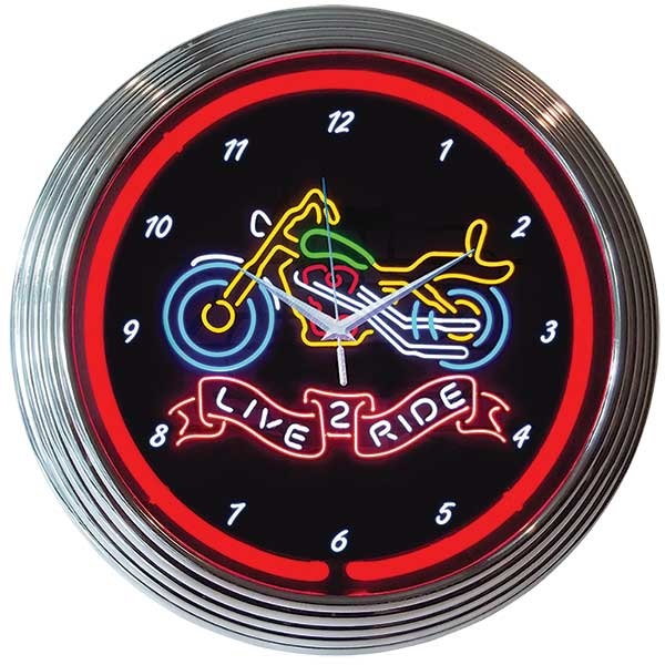 Live 2 Ride Neon Wall Clock