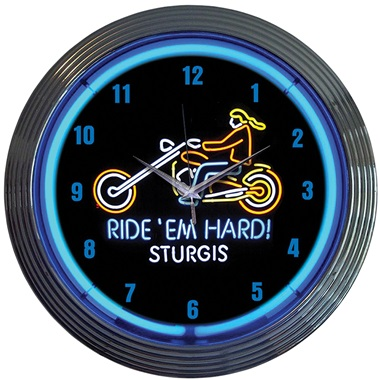 Ride 'Em Hard Sturgis Neon Wall Clock