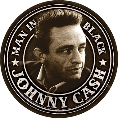 """Johnny Cash Tin Sign - 11-3/4"""" Dia"""