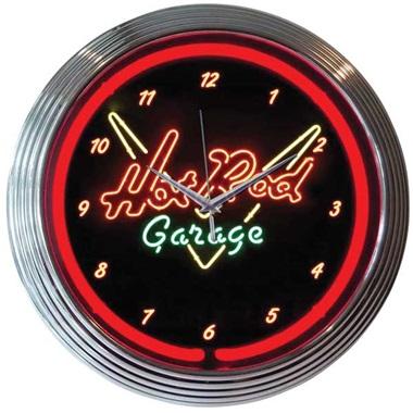 Hot Rod Garage Neon Wall Clock