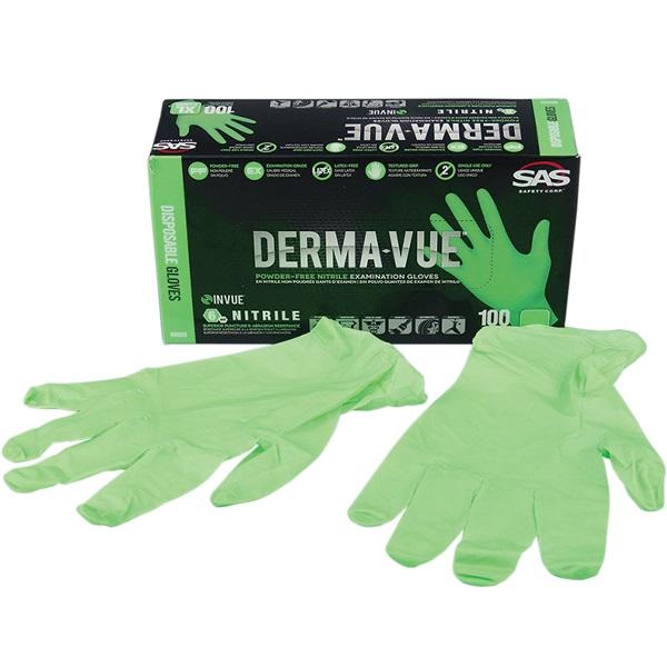 SAS® DERMA-VUE™ Disposable Nitrile Work Gloves, Lrg