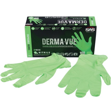 SAS® DERMA-VUE™ Disposable Nitrile Work Gloves, Lrg