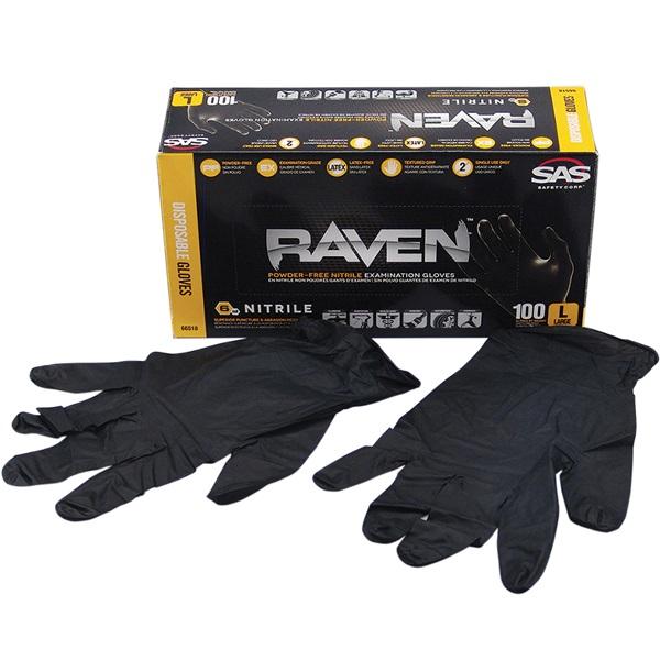 SAS® RAVEN™ Disposable Nitrile Work Gloves, Lrg