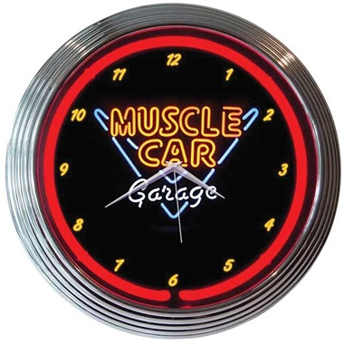 Muscle Car Garage Neon Wall Clock