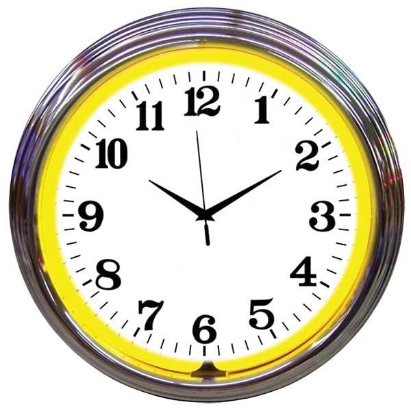 Chrome Rim Yellow Neon Wall Clock