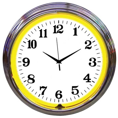 Chrome Rim Yellow Neon Wall Clock