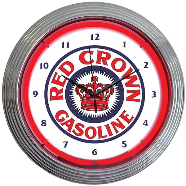Red Crown Gasoline Neon Wall Clock