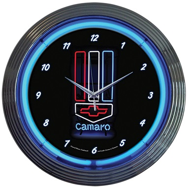 Camaro Red White and Blue Neon Wall Clock