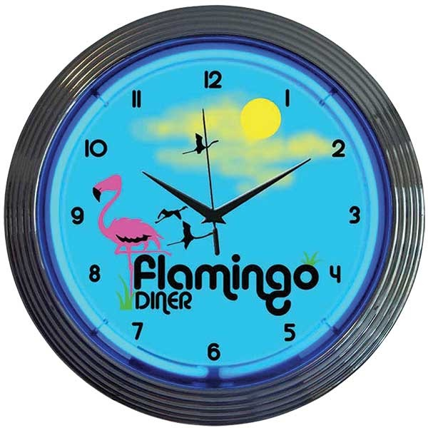 Flamingo Diner Neon Wall Clock