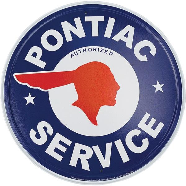 """Pontiac Service Tin Sign - 11-3/4"""" Dia"""