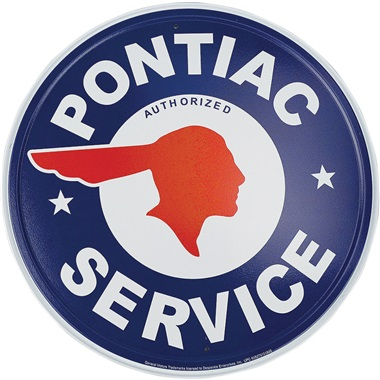 "Pontiac Service Tin Sign - 11-3/4"" Dia"