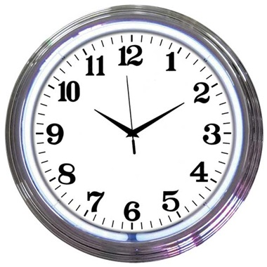 Chrome Rim White Neon Wall Clock