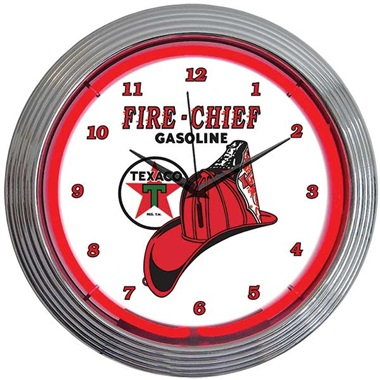 Texaco Fire Chief Neon Wall Clock