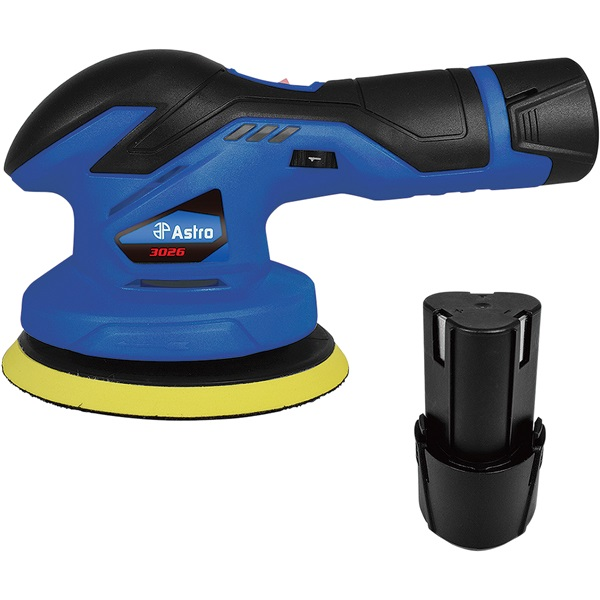 "Astro Pneumatic® 6"" 12V Palm Polisher w/2 Batteries"