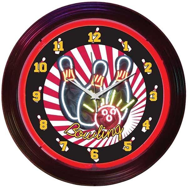 Bowling Neon Wall Clock
