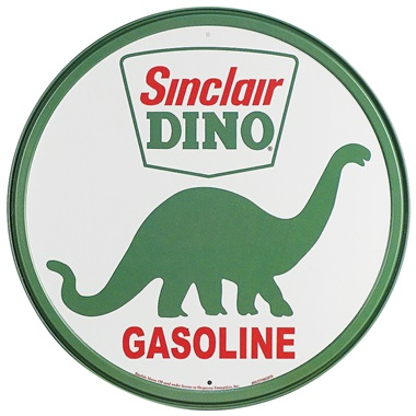 "Sinclair Dino Tin Sign - 11-3/4"" Dia"