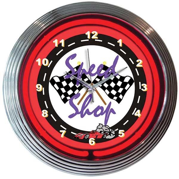 Speed Shop Neon Wall Clock