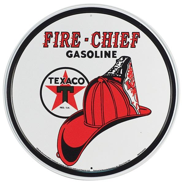 """Texaco Fire Chief Tin Sign - 11-3/4"""" Dia"""