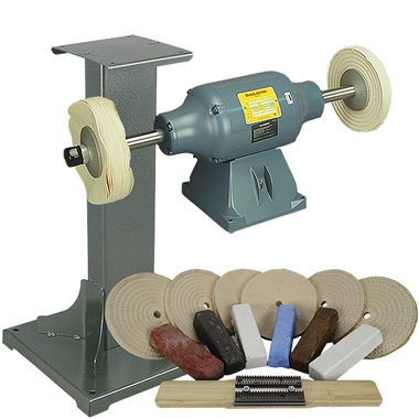 BALDOR® 1-1/2HP Buffer, 11 Ga Steel Stand & Buffing Kit