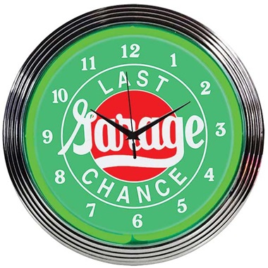 Last Chance Garage Neon Wall Clock