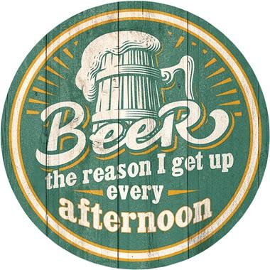 """Beer Tin Sign - 11-3/4"""" Dia"""