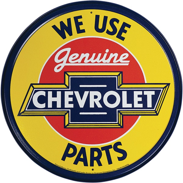 "Genuine Chevrolet Tin Sign - 11-3/4"" Dia"