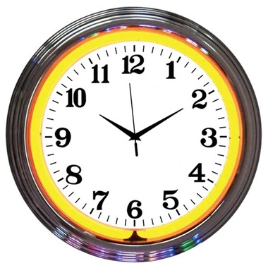 Chrome Rim Orange Neon Wall Clock