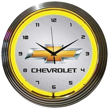 Chevrolet Yellow Neon Wall Clock