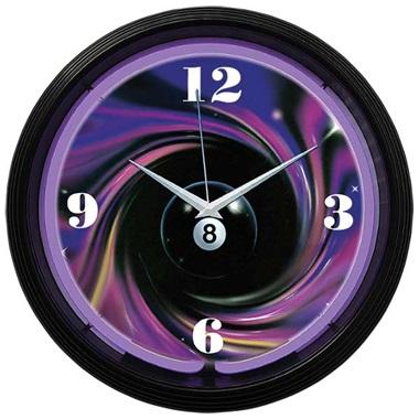8 Ball Swirl Neon Wall Clock