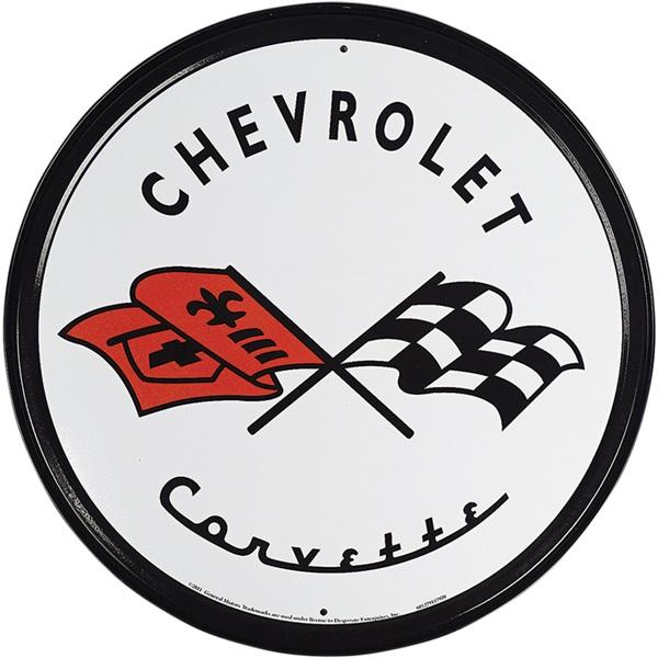"Chevrolet Corvette Tin Sign - 11-3/4"" Dia"