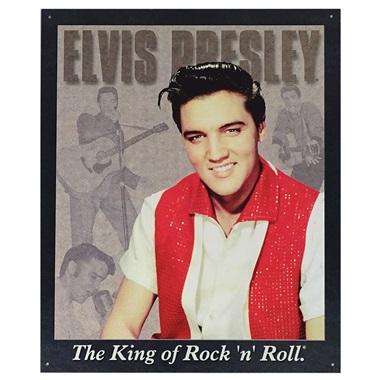 "Elvis Presley Tin Sign - 12-1/2""W x 16""H"