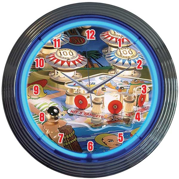 Pinball Neon Wall Clock