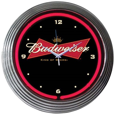 Budweiser Bowtie Neon Wall Clock