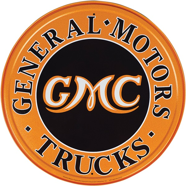 "GMC Trucks Tin Sign - 11-3/4"" Dia"