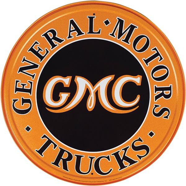 "GMC Trucks Tin Sign - 11-3/4"" Dia"