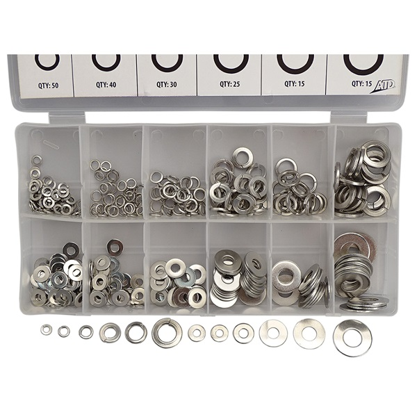 350-Pc Stainless Lock & Flat Washer Assortment