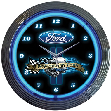 Powered by Ford Neon Wall Clock