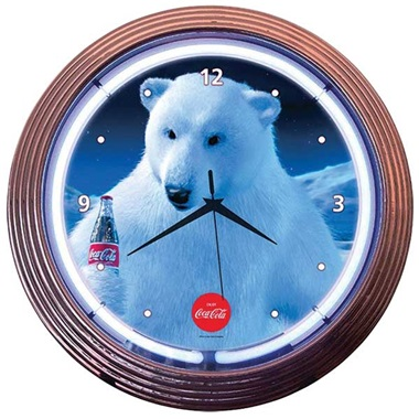 Coca-Cola Polar Bear Neon Wall Clock