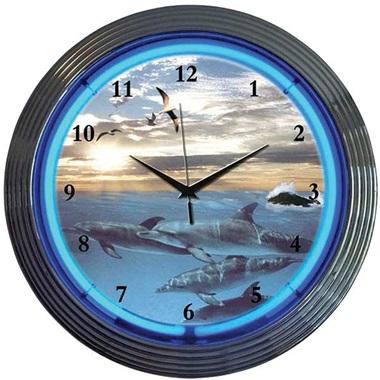 Dolphins at Sea Neon Wall Clock