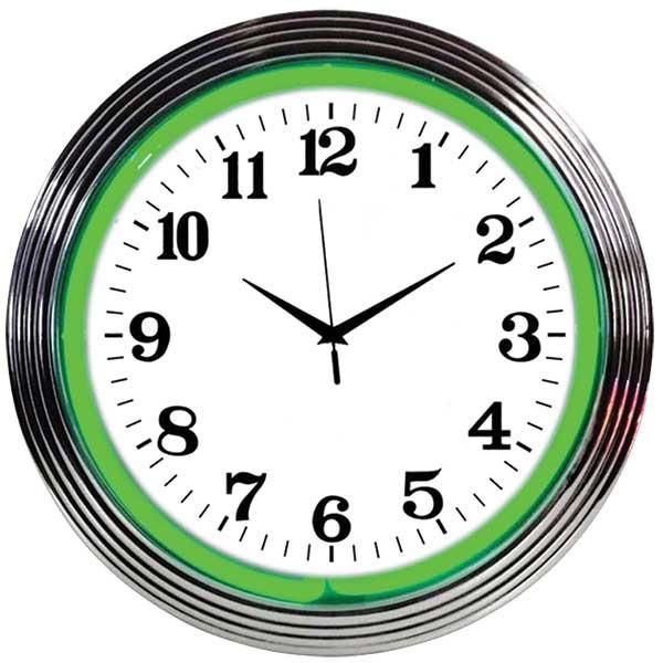 Chrome Rim Green Neon Wall Clock