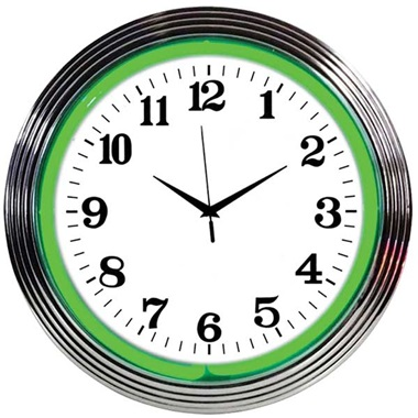 Chrome Rim Green Neon Wall Clock